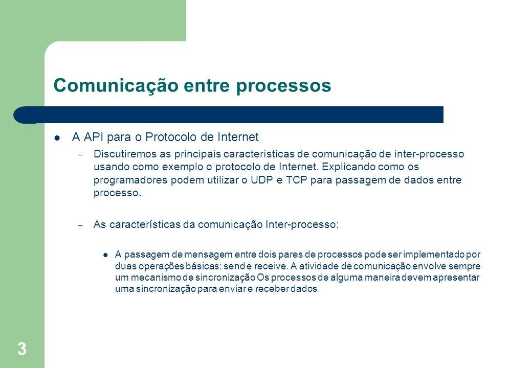 3 Comunicação entre processos A API para o Protocolo de Internet – Discutiremos as principais características de comunicação de inter-processo usando