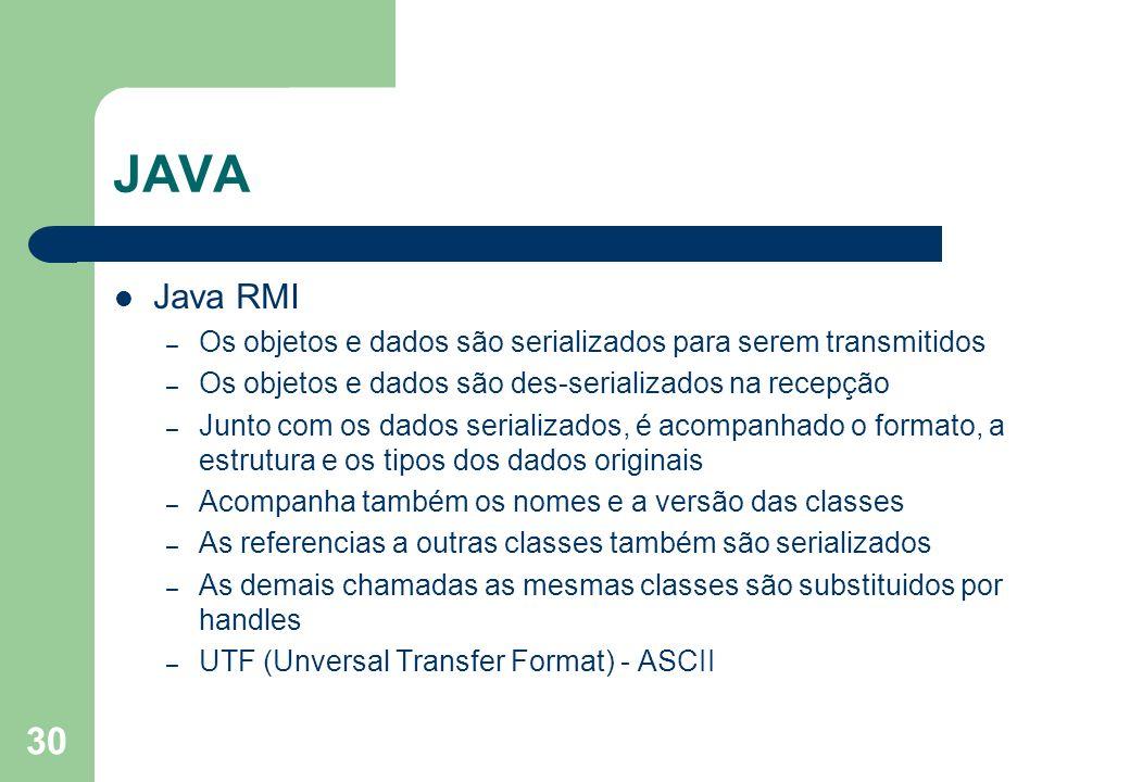 30 JAVA Java RMI – Os objetos e dados são serializados para serem transmitidos – Os objetos e dados são des-serializados na recepção – Junto com os da