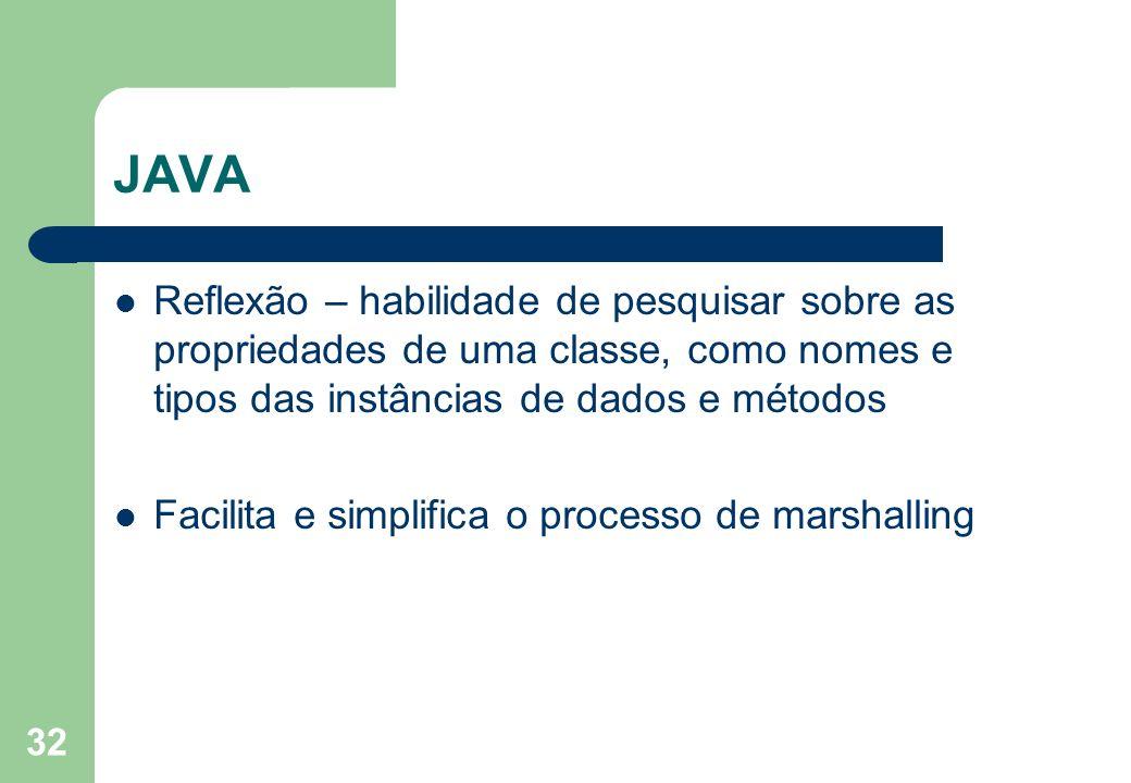 32 JAVA Reflexão – habilidade de pesquisar sobre as propriedades de uma classe, como nomes e tipos das instâncias de dados e métodos Facilita e simpli