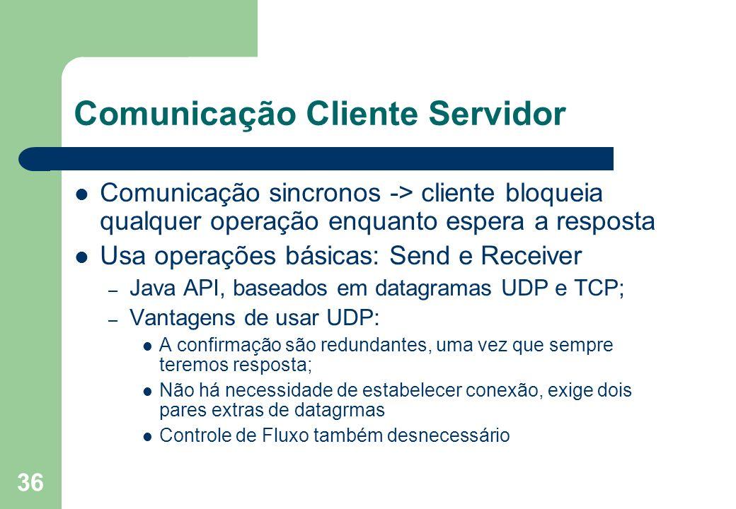 36 Comunicação Cliente Servidor Comunicação sincronos -> cliente bloqueia qualquer operação enquanto espera a resposta Usa operações básicas: Send e R