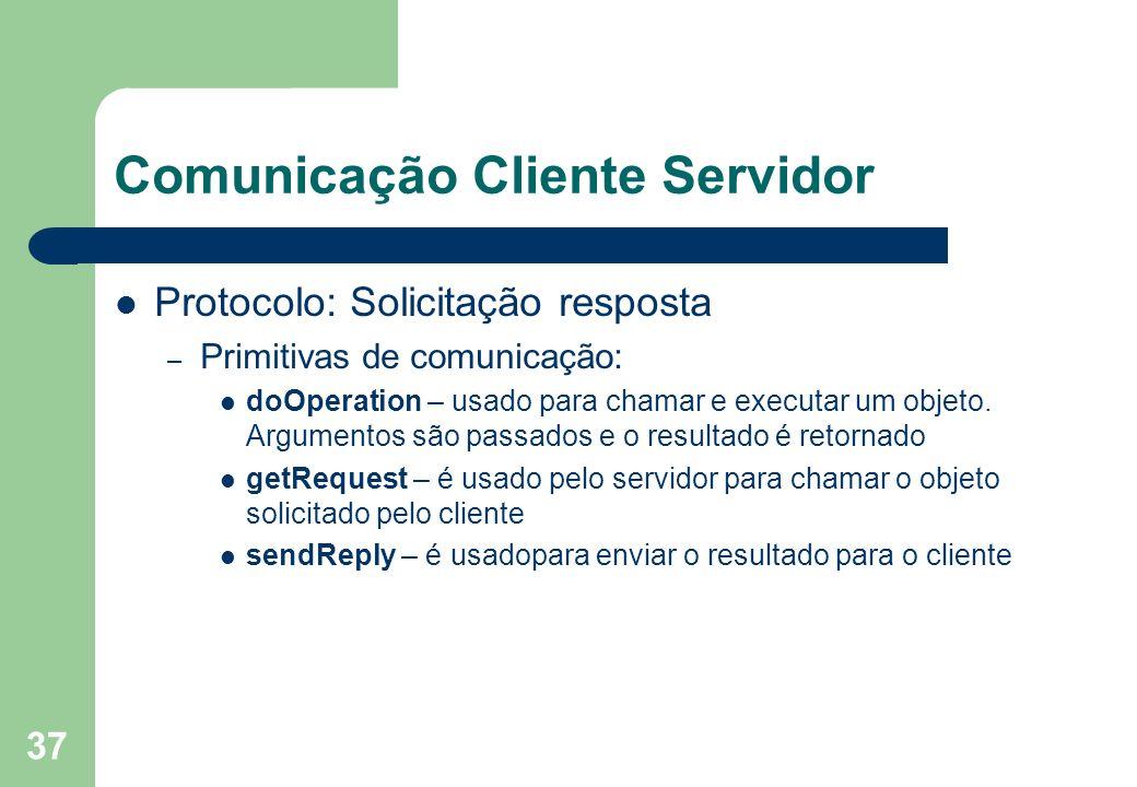 37 Comunicação Cliente Servidor Protocolo: Solicitação resposta – Primitivas de comunicação: doOperation – usado para chamar e executar um objeto. Arg