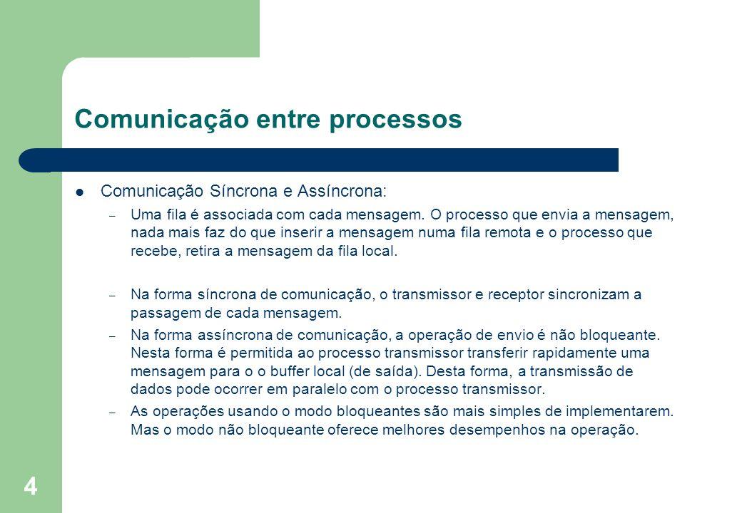 4 Comunicação entre processos Comunicação Síncrona e Assíncrona: – Uma fila é associada com cada mensagem. O processo que envia a mensagem, nada mais