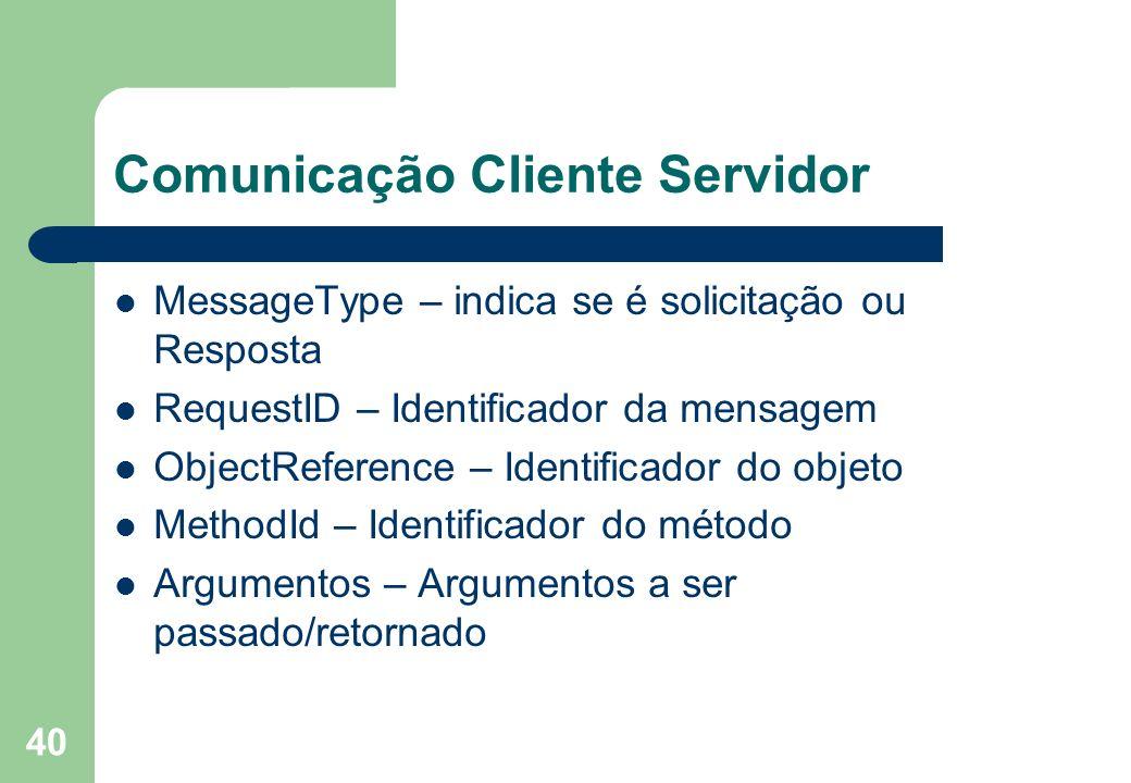 40 Comunicação Cliente Servidor MessageType – indica se é solicitação ou Resposta RequestID – Identificador da mensagem ObjectReference – Identificado
