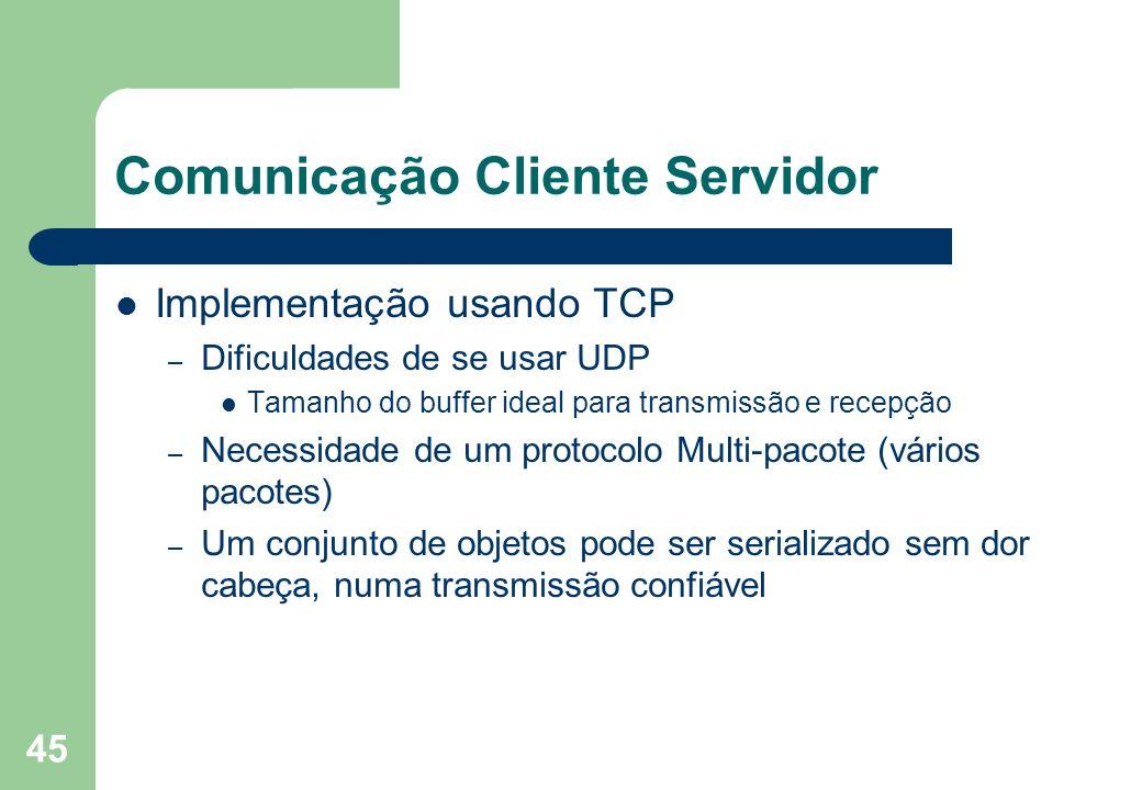45 Comunicação Cliente Servidor Implementação usando TCP – Dificuldades de se usar UDP Tamanho do buffer ideal para transmissão e recepção – Necessida