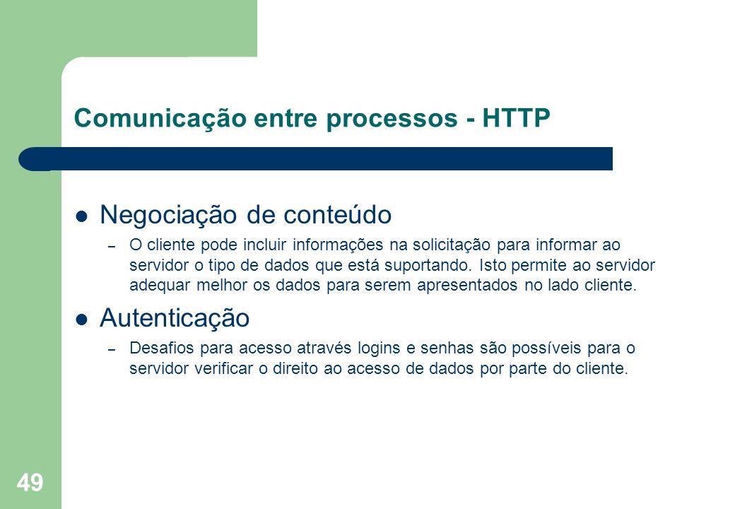 49 Negociação de conteúdo – O cliente pode incluir informações na solicitação para informar ao servidor o tipo de dados que está suportando. Isto perm