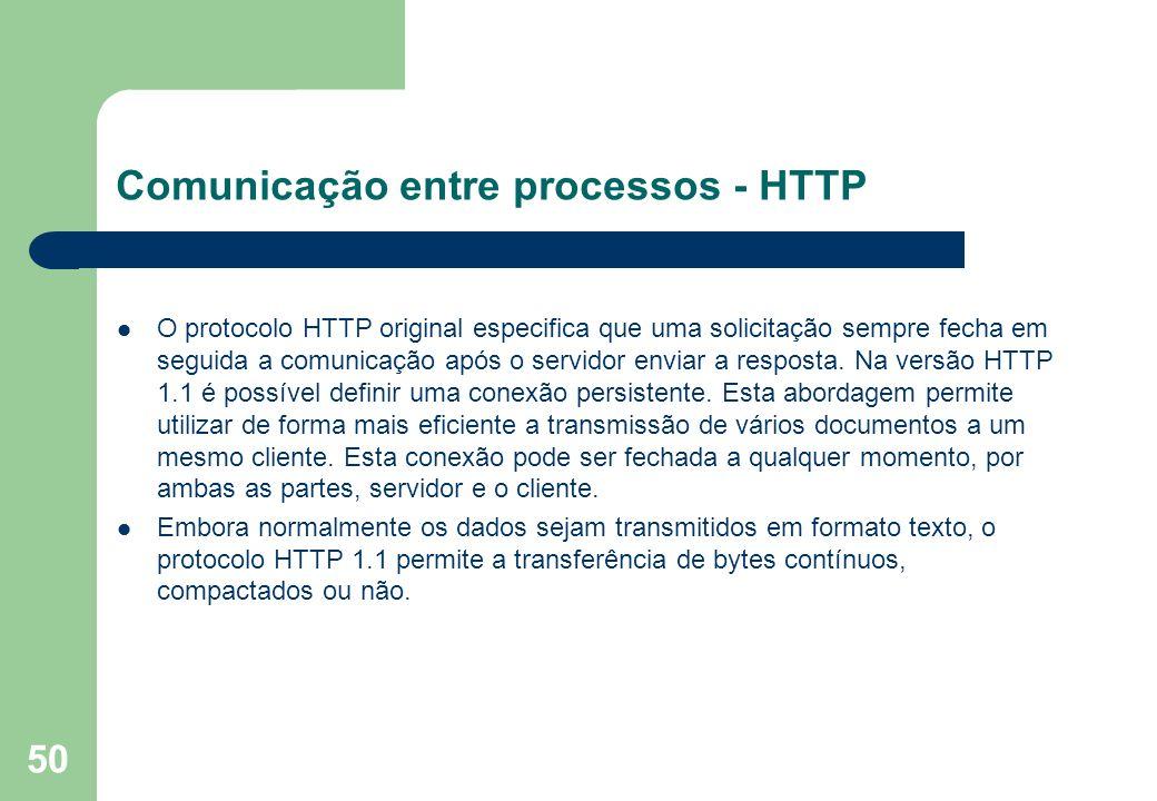 50 O protocolo HTTP original especifica que uma solicitação sempre fecha em seguida a comunicação após o servidor enviar a resposta. Na versão HTTP 1.