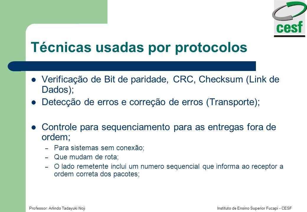 Professor: Arlindo Tadayuki Noji Instituto de Ensino Superior Fucapi - CESF Técnicas usadas por protocolos Verificação de Bit de paridade, CRC, Checks