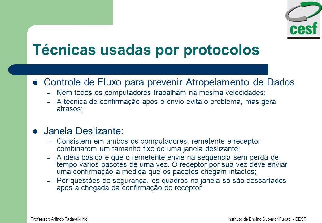 Professor: Arlindo Tadayuki Noji Instituto de Ensino Superior Fucapi - CESF Técnicas usadas por protocolos Controle de Fluxo para prevenir Atropelamen