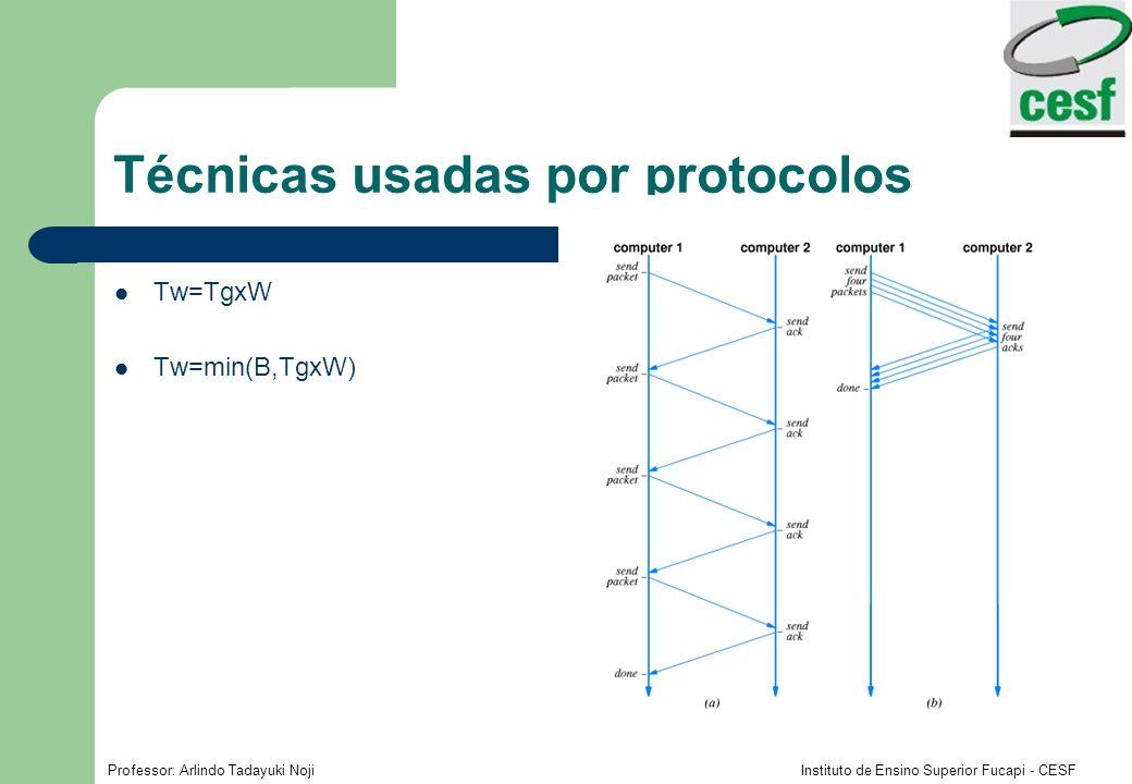Professor: Arlindo Tadayuki Noji Instituto de Ensino Superior Fucapi - CESF Técnicas usadas por protocolos Tw=TgxW Tw=min(B,TgxW)