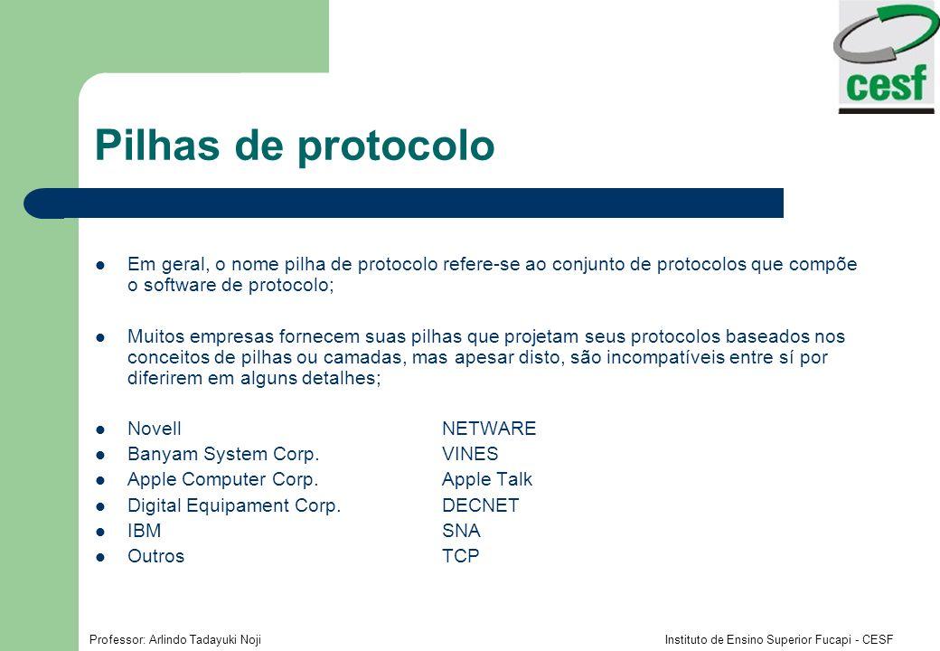 Professor: Arlindo Tadayuki Noji Instituto de Ensino Superior Fucapi - CESF Pilhas de protocolo Em geral, o nome pilha de protocolo refere-se ao conju