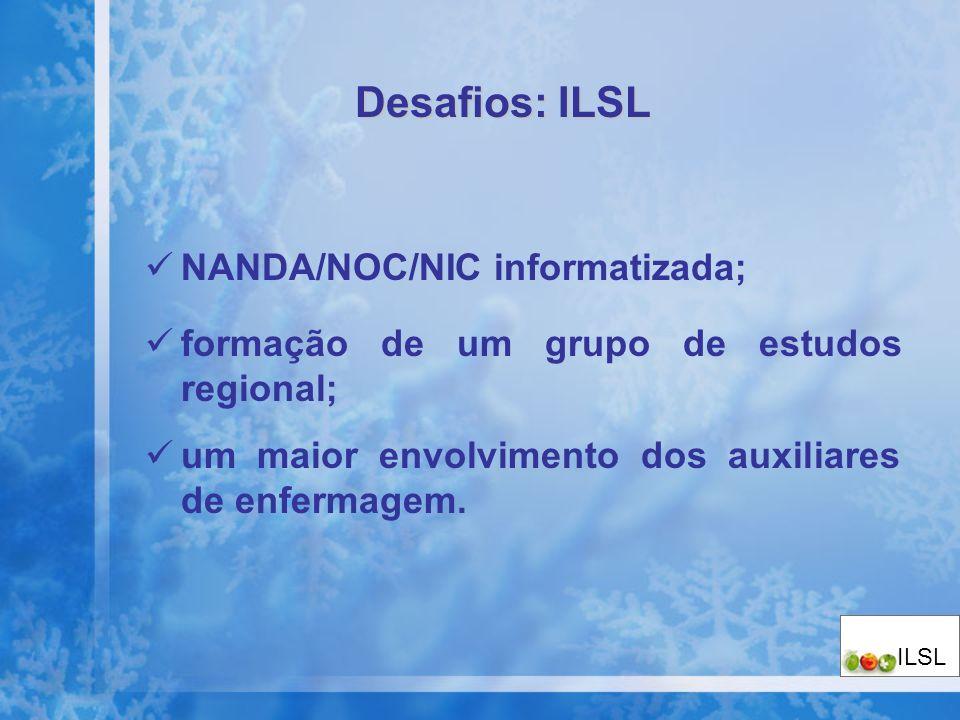 NANDA/NOC/NIC informatizada; formação de um grupo de estudos regional; um maior envolvimento dos auxiliares de enfermagem. Desafios: ILSL ILSL