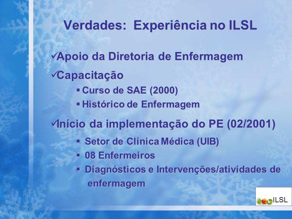 Verdades: Experiência no ILSL Apoio da Diretoria de Enfermagem Apoio da Diretoria de Enfermagem Capacitação Capacitação Curso de SAE (2000) Curso de S