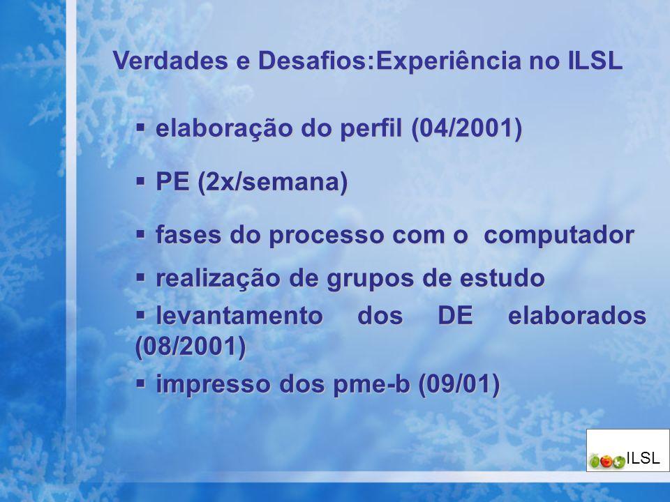 elaboração do perfil (04/2001) elaboração do perfil (04/2001) PE (2x/semana) PE (2x/semana) fases do processo com o computador fases do processo com o