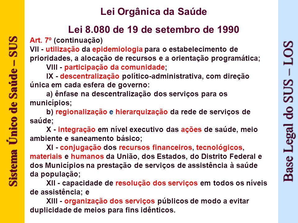 Sistema Único de Saúde – SUS Base Legal do SUS – LOS Lei Orgânica da Saúde Lei 8.080 de 19 de setembro de 1990 Art. 7º (continuação) VII - utilização