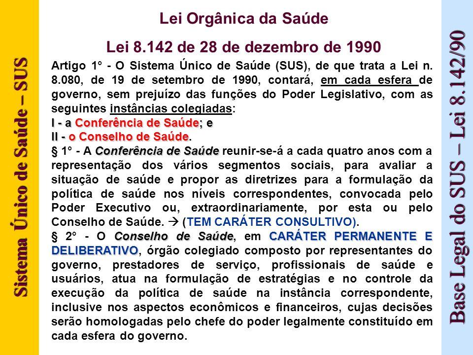 Sistema Único de Saúde – SUS Base Legal do SUS – Lei 8.142/90 Lei Orgânica da Saúde Lei 8.142 de 28 de dezembro de 1990 Artigo 1° - O Sistema Único de