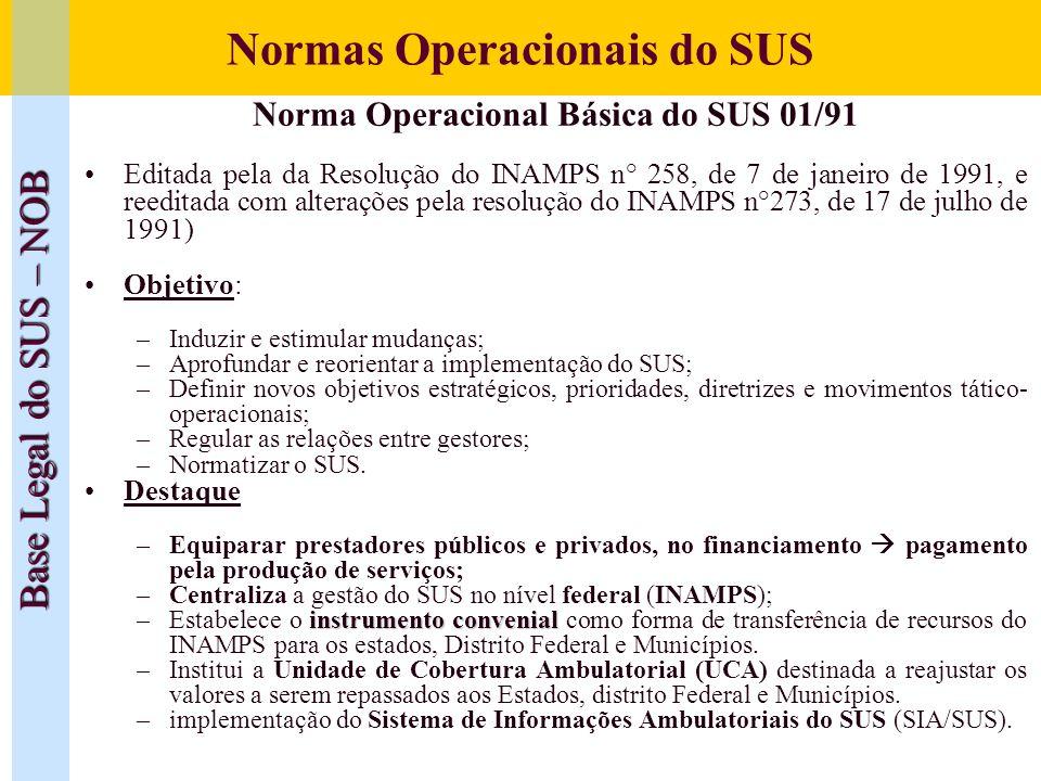Normas Operacionais do SUS Base Legal do SUS – NOB Norma Operacional Básica do SUS 01/91 Editada pela da Resolução do INAMPS n° 258, de 7 de janeiro d