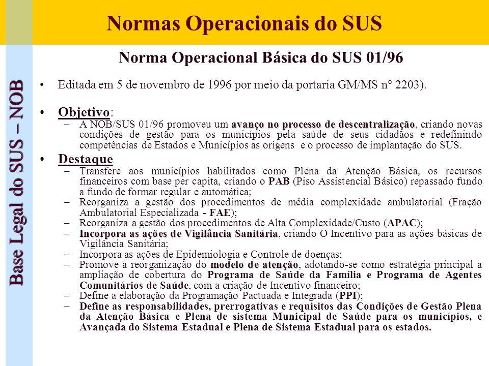 Normas Operacionais do SUS Base Legal do SUS – NOB Norma Operacional Básica do SUS 01/96 Editada em 5 de novembro de 1996 por meio da portaria GM/MS n
