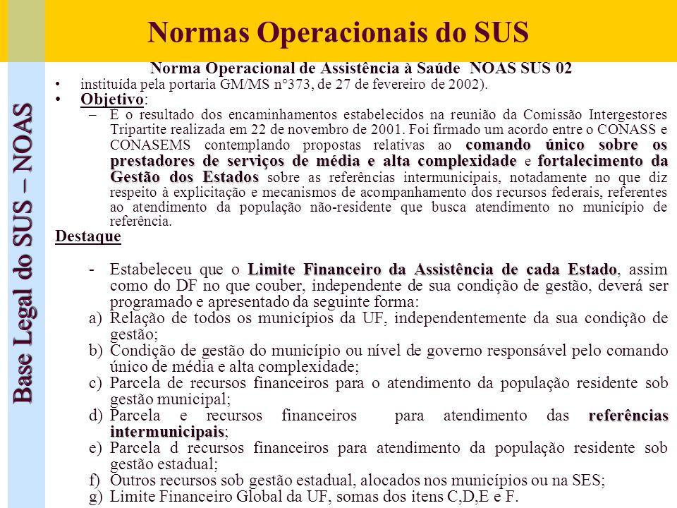 Normas Operacionais do SUS Base Legal do SUS – NOAS Norma Operacional de Assistência à Saúde NOAS SUS 02 instituída pela portaria GM/MS n°373, de 27 d