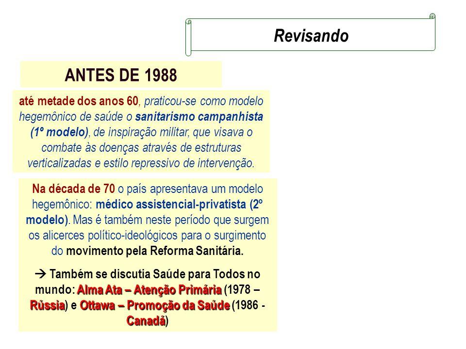 ANTES DE 1988 Na década de 70 o país apresentava um modelo hegemônico: médico assistencial-privatista (2º modelo). Mas é também neste período que surg