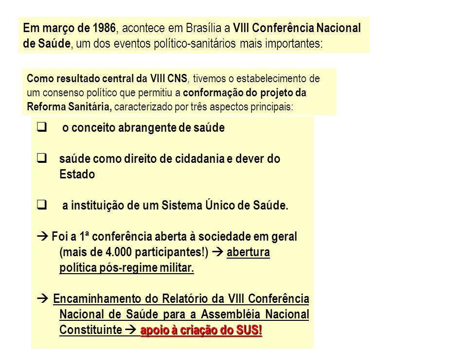 Em março de 1986, acontece em Brasília a VIII Conferência Nacional de Saúde, um dos eventos político-sanitários mais importantes: Como resultado centr