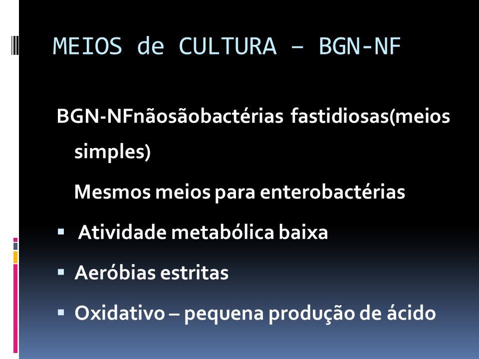 MEIOS de CULTURA – BGN-NF BGN-NFnãosãobactérias fastidiosas(meios simples) Mesmos meios para enterobactérias Atividade metabólica baixa Aeróbias estri
