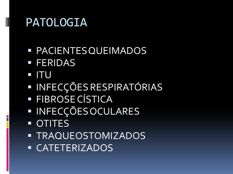 PATOLOGIA PACIENTES QUEIMADOS FERIDAS ITU INFECÇÕES RESPIRATÓRIAS FIBROSE CÍSTICA INFECÇÕES OCULARES OTITES TRAQUEOSTOMIZADOS CATETERIZADOS