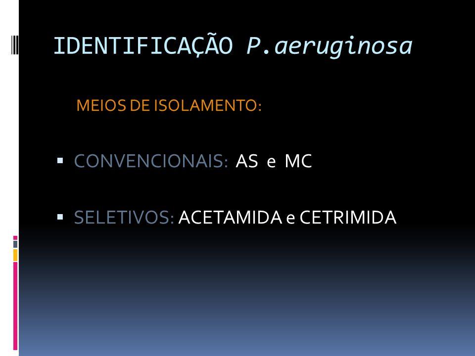 IDENTIFICAÇÃO P.aeruginosa MEIOS DE ISOLAMENTO: CONVENCIONAIS: AS e MC SELETIVOS: ACETAMIDA e CETRIMIDA
