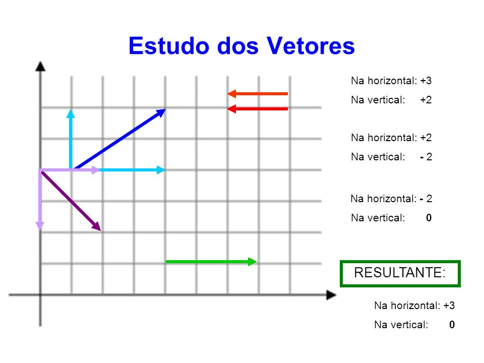 Estudo dos Vetores Na horizontal: +3 Na vertical: +2 Na horizontal: +2 Na vertical: - 2 Na horizontal: - 2 Na vertical: 0 Na horizontal: +3 Na vertica
