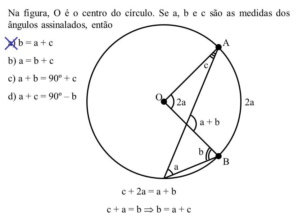 (Cesgranrio) Em um círculo de centro O, está inscrito o ângulo. Se o arco AMB mede 130º, o ângulo mede a) 25º b) 30º c) 40º d) 45º O A B M 130º 180º 2