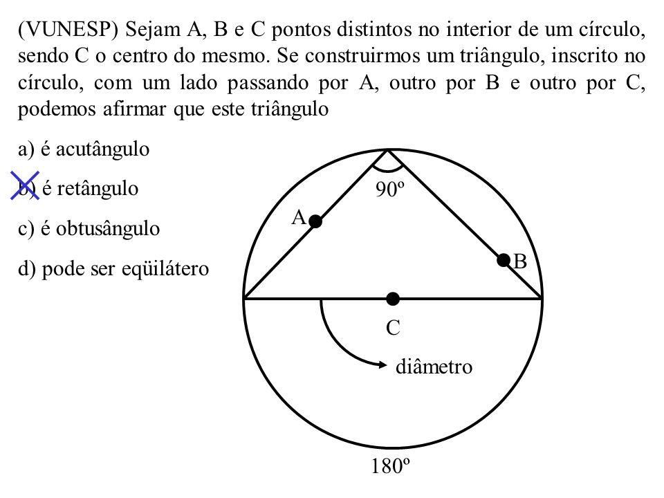 (Mack-SP) Na figura, sabe-se que m(CÂD) = 20º e m(CÊD) = 70º. Então, a medida de AMB é igual a a) 50º b) 45º c) 60º d) 30º O BA E DC M x 20º 100º 40º