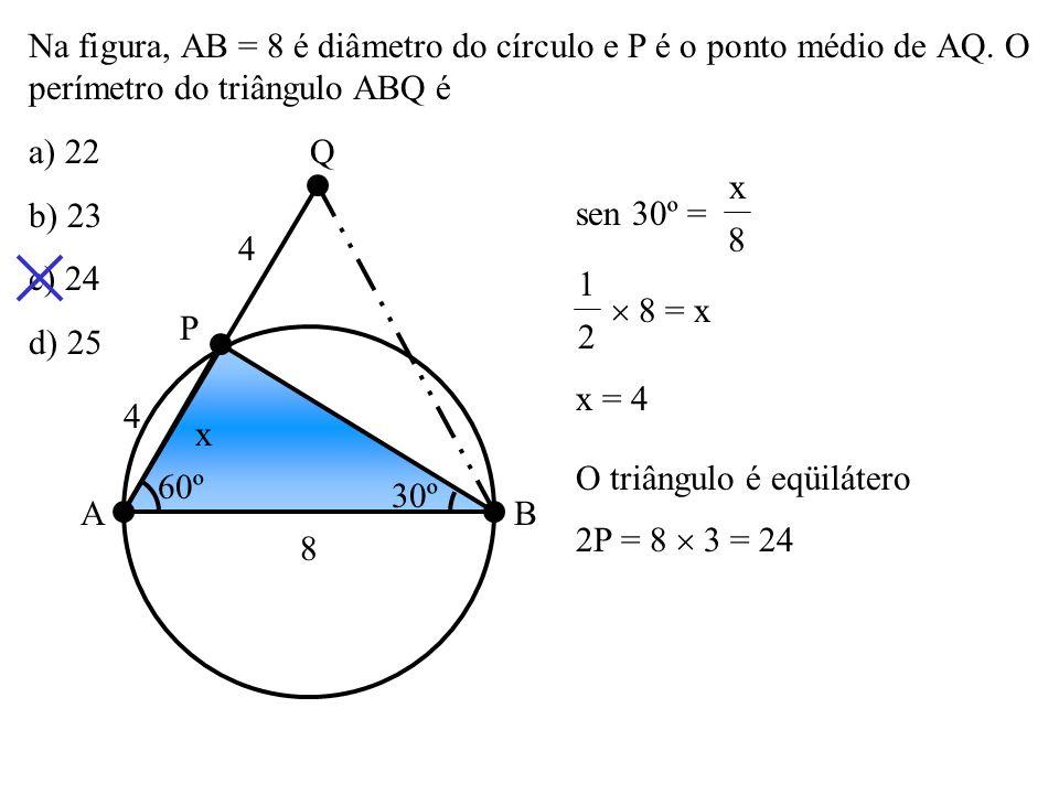 Na figura, PBA e PDC são secantes ao círculo. AB é lado de um quadrado e CD é lado de um Hexágono regular inscritos no círculo. Se o arco AC é o dobro