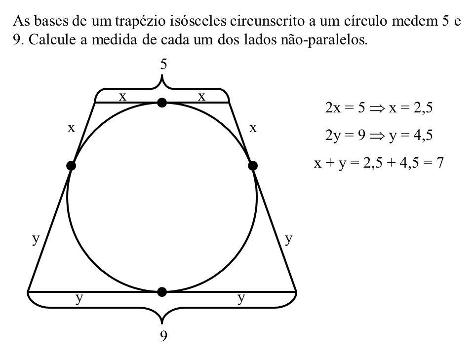 30º Na figura, AB = 8 é diâmetro do círculo e P é o ponto médio de AQ. O perímetro do triângulo ABQ é a) 22 b) 23 c) 24 d) 25 A P B Q 60º 8 4 4 sen 30