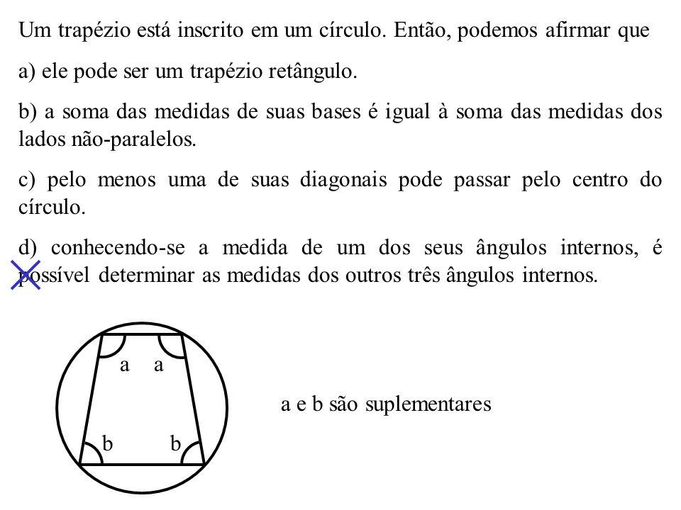 A53. Um quadrilátero convexo está inscrito a um círculo. Dois de seus ângulos internos medem 85º e 113º. A diferença das medidas dos outros dois ângul