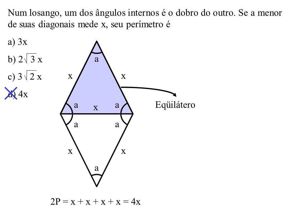 Num trapézio isósceles, as bases medem 8cm e 3cm e os ângulos da base medem 60º. Seu perímetro é a) 20cm b) 21cm c) 22cm d) 24cm 3 60º 2,5 8 3 xx cos