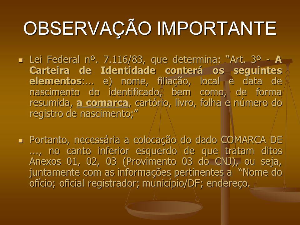 OBSERVAÇÃO IMPORTANTE Lei Federal nº. 7.116/83, que determina: Art. 3º - A Carteira de Identidade conterá os seguintes elementos:... e) nome, filiação
