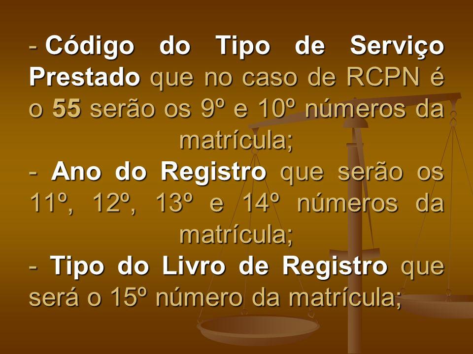 - Código do Tipo de Serviço Prestado que no caso de RCPN é o 55 serão os 9º e 10º números da matrícula; - Ano do Registro que serão os 11º, 12º, 13º e