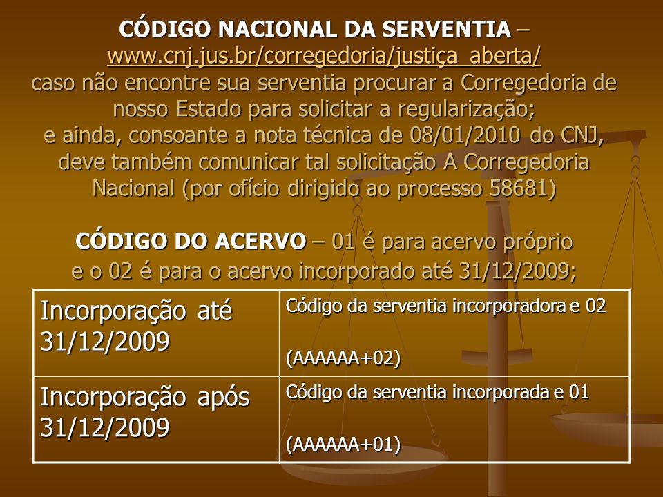 CÓDIGO NACIONAL DA SERVENTIA – www.cnj.jus.br/corregedoria/justiça_aberta/ caso não encontre sua serventia procurar a Corregedoria de nosso Estado par