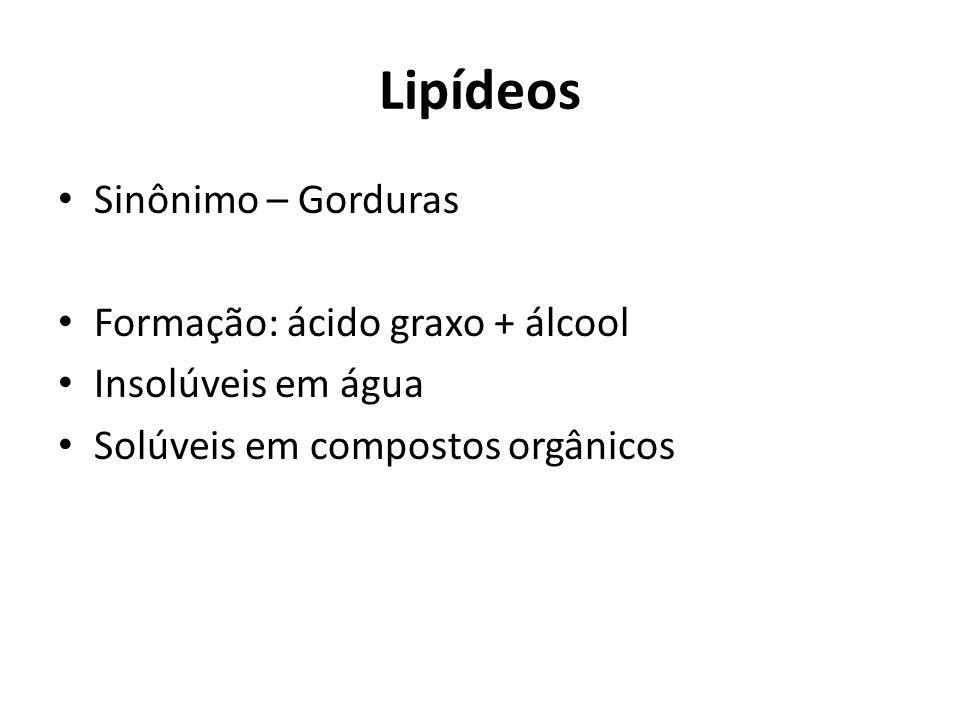 Lipídeos Sinônimo – Gorduras Formação: ácido graxo + álcool Insolúveis em água Solúveis em compostos orgânicos