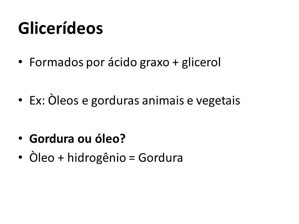 Glicerídeos Formados por ácido graxo + glicerol Ex: Òleos e gorduras animais e vegetais Gordura ou óleo? Òleo + hidrogênio = Gordura