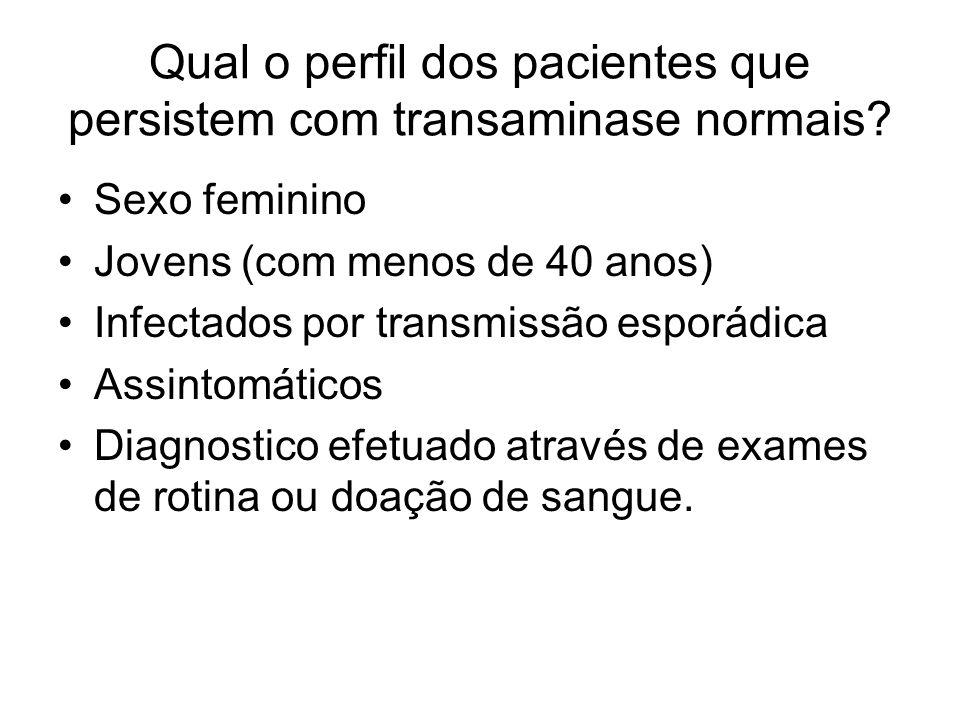 Qual o perfil dos pacientes que persistem com transaminase normais? Sexo feminino Jovens (com menos de 40 anos) Infectados por transmissão esporádica