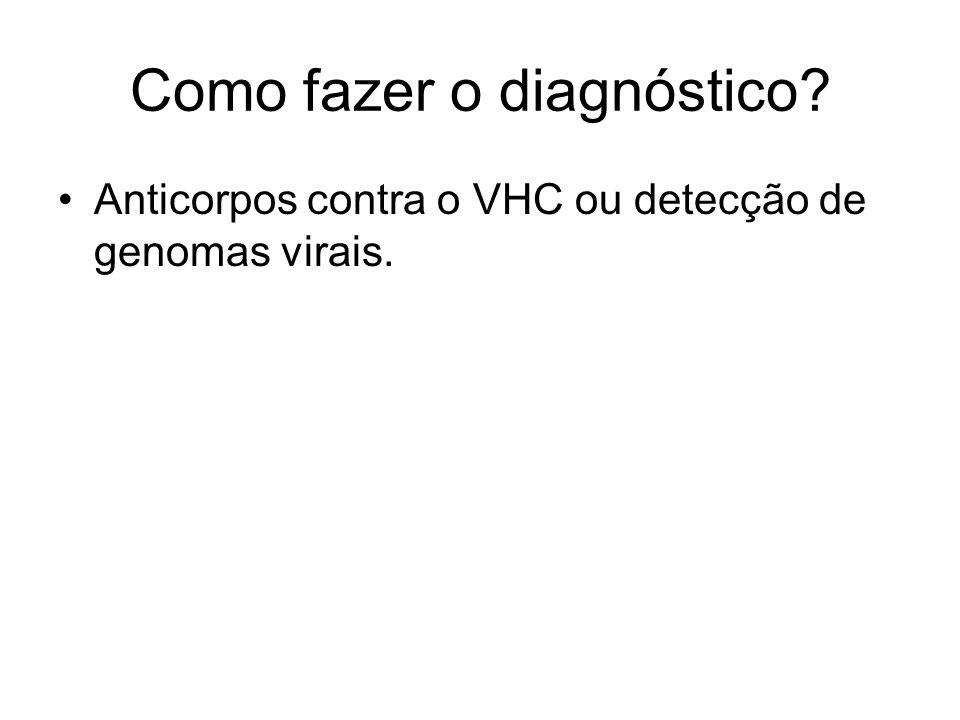 Como fazer o diagnóstico? Anticorpos contra o VHC ou detecção de genomas virais.