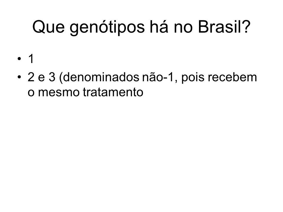 Que genótipos há no Brasil? 1 2 e 3 (denominados não-1, pois recebem o mesmo tratamento