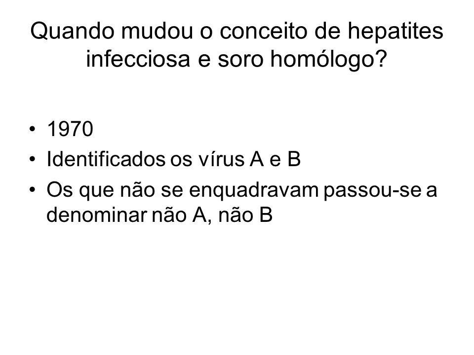 Quando mudou o conceito de hepatites infecciosa e soro homólogo? 1970 Identificados os vírus A e B Os que não se enquadravam passou-se a denominar não