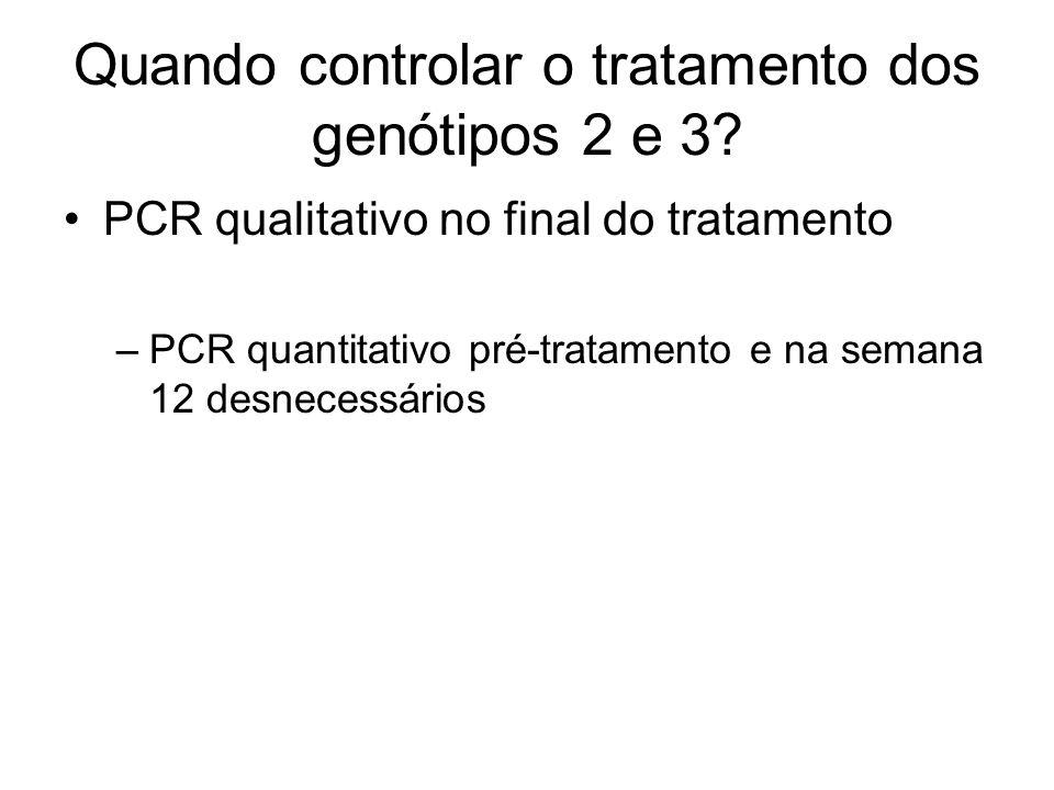 Quando controlar o tratamento dos genótipos 2 e 3? PCR qualitativo no final do tratamento –PCR quantitativo pré-tratamento e na semana 12 desnecessári