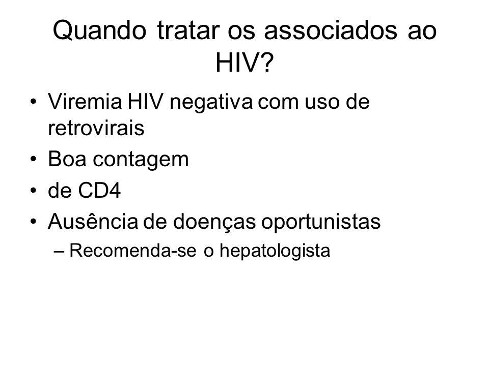 Quando tratar os associados ao HIV? Viremia HIV negativa com uso de retrovirais Boa contagem de CD4 Ausência de doenças oportunistas –Recomenda-se o h