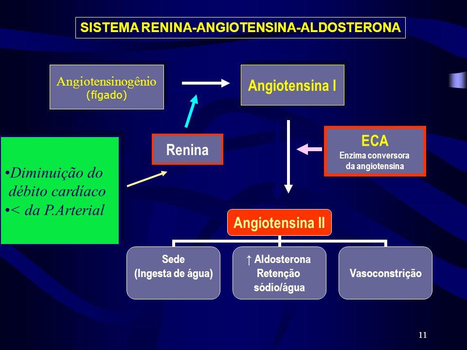 11 Angiotensinogênio (fígado) Angiotensinogênio (fígado) Angiotensina I Renina Diminuição do débito cardíaco < da P.Arterial Diminuição do débito card