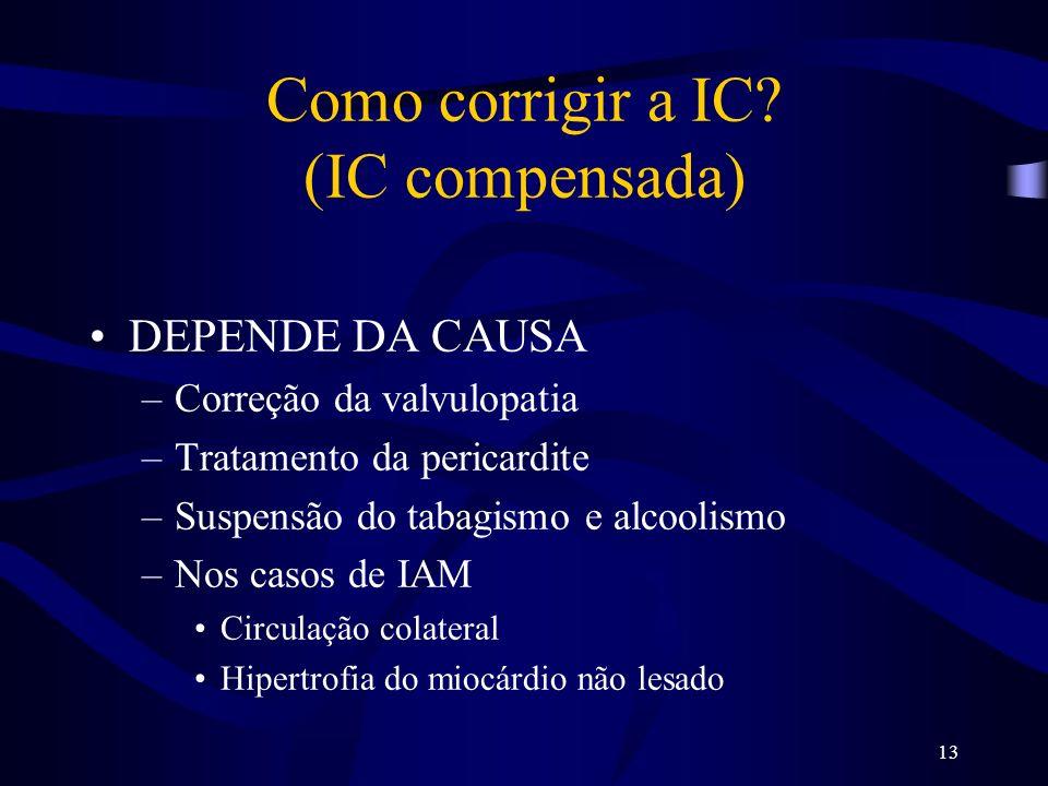 13 Como corrigir a IC? (IC compensada) DEPENDE DA CAUSA –Correção da valvulopatia –Tratamento da pericardite –Suspensão do tabagismo e alcoolismo –Nos