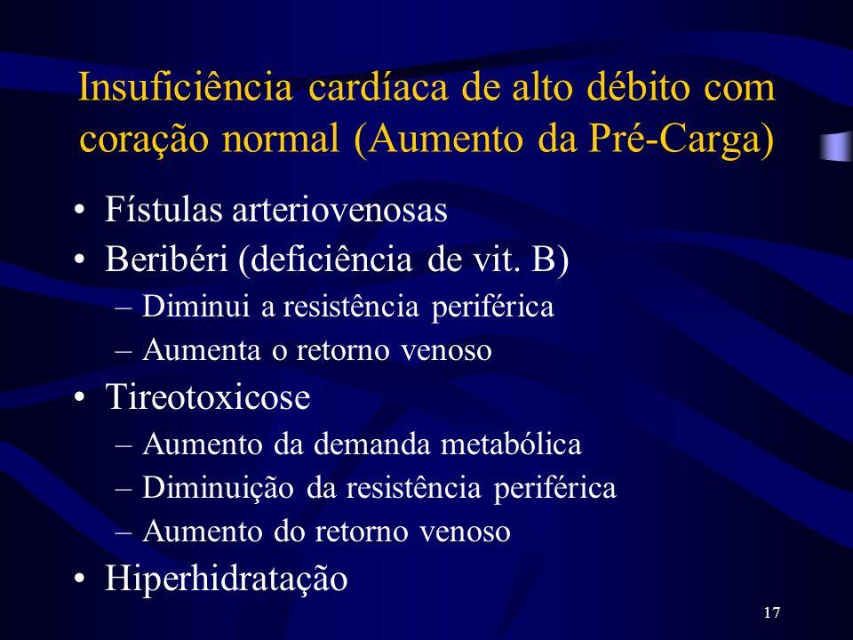 17 Insuficiência cardíaca de alto débito com coração normal (Aumento da Pré-Carga) Fístulas arteriovenosas Beribéri (deficiência de vit. B) –Diminui a