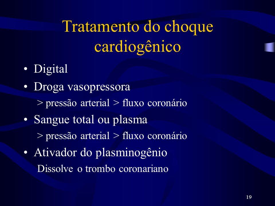 19 Tratamento do choque cardiogênico Digital Droga vasopressora > pressão arterial > fluxo coronário Sangue total ou plasma > pressão arterial > fluxo