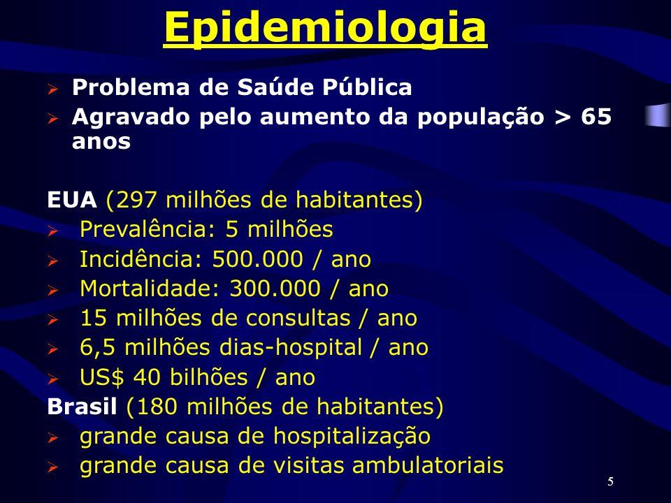 5 Epidemiologia Problema de Saúde Pública Agravado pelo aumento da população > 65 anos EUA (297 milhões de habitantes) Prevalência: 5 milhões Incidênc